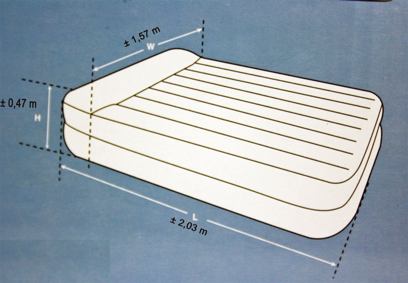 intex queen size bett luftbett g stebett luftmatratze 203 x157 x 47 cm neu. Black Bedroom Furniture Sets. Home Design Ideas