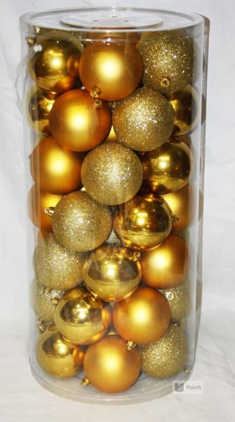 48 st ck kugeln weihnachtskugeln christbaumkugeln aus kunststoff 10 cm gold ebay. Black Bedroom Furniture Sets. Home Design Ideas